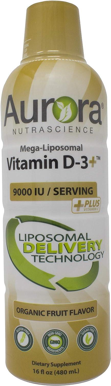 Aurora Nutrascience, Mega-Liposomal Vitamin D-3+ 9,000 IU with Vitamin C