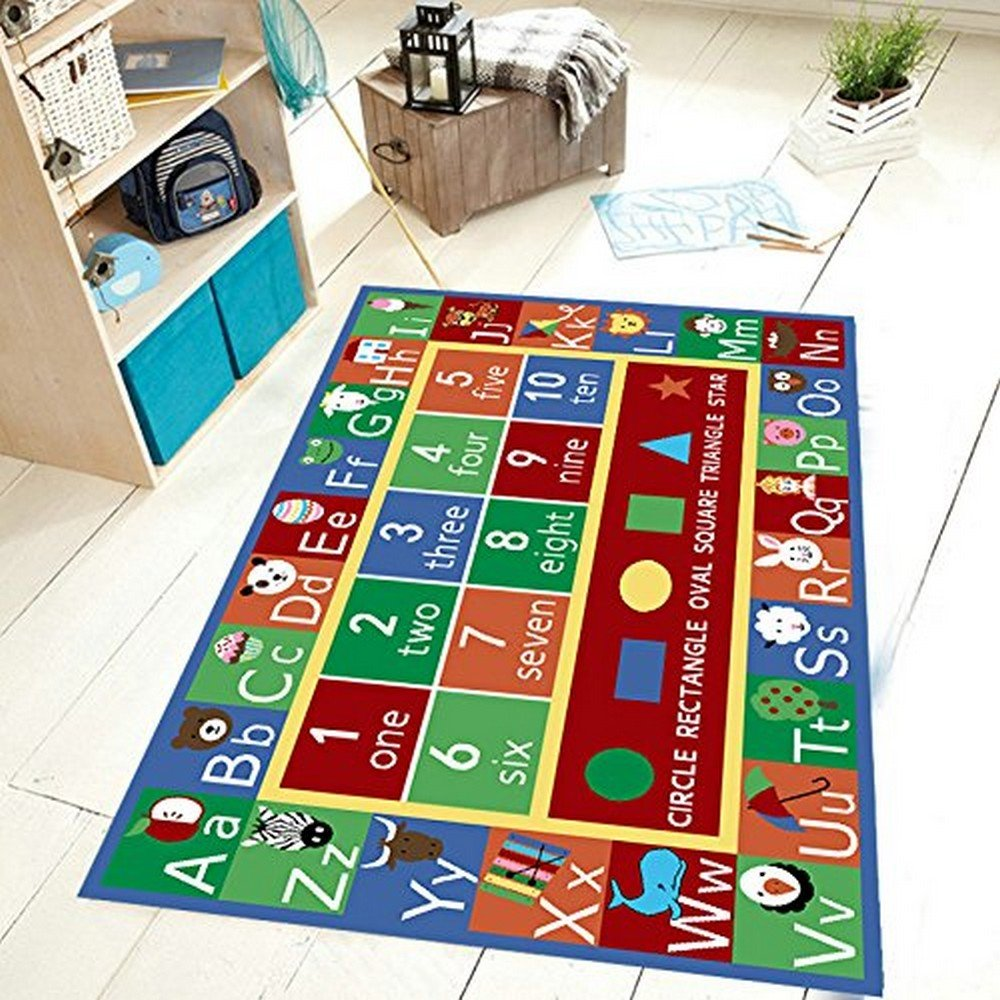 6'6\ Furnish my Place Kids Rug ABC Alphabet Numbers and Shapes Educational Area Rug Non Skid Backing, Rectangle