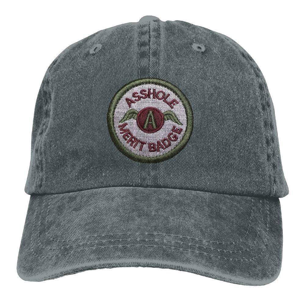 Endool Asshole Merit Badge Police Military Tactical Mens Cotton Adjustable Washed Twill Baseball Cap Hat Embroidered