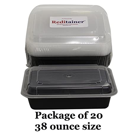 Reditainer   Rectangular Food Storage Containers With Lids   Microwaveable  U0026 Dishwasher Safe (38 Ounce