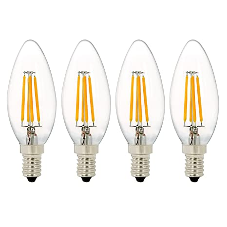 4 Unidades C35 4W Bombilla de Filamento LED, NATIONALMATER , Bombilla LED Vela, Blanco