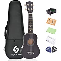 "NOT HOME® 21"" Soprano Ukulele with a Carrying Bag and a Digital Tuner, Specially Designed for Kids, Students and Beginners (Black)"