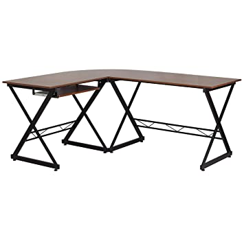 e7ce41ac0f8 Image Unavailable. Image not available for. Color  A Line Furniture Doliza  Black Metal Wood L-Shape Computer Desk with Pull Out