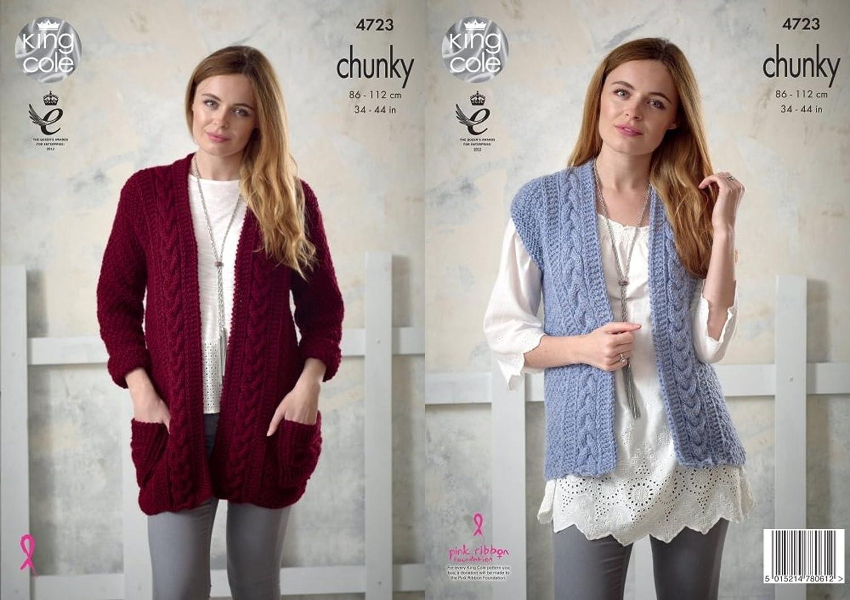 3e50f83687e7ba King Cole Ladies Chunky Knitting Pattern Womens Cable Knit Jacket    Waistcoat (4723) by King Cole  Amazon.co.uk  Kitchen   Home