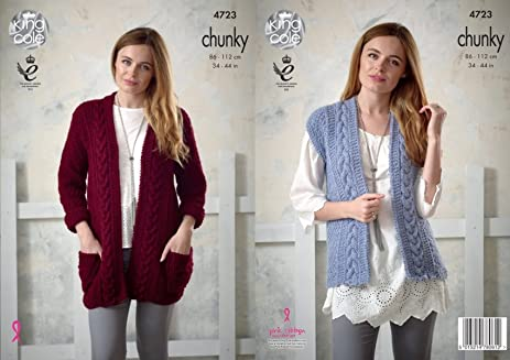 Amazon King Cole Ladies Chunky Knitting Pattern Womens Cable