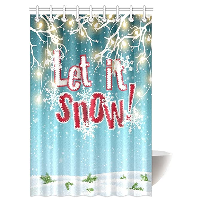 Amazon InterestPrint Let It Snow Shower Curtain Electric Lights And Abstract Sky Clouds Fabric Bathroom Set With Hooks