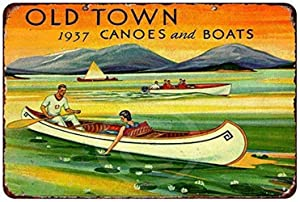 MAIYUAN Wall Decor Sign 1937 Old Town Canoes and Boats Rustic Vintage Aluminum Metal Sign 8x12 Inches (BBM4091)