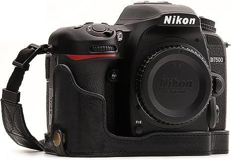 MegaGear Para Nikon D7500 Estuche Ever Ready, Media funda, estuche de base, funda de pronto uso de cuero auténtico, con correa: Amazon.es: Electrónica