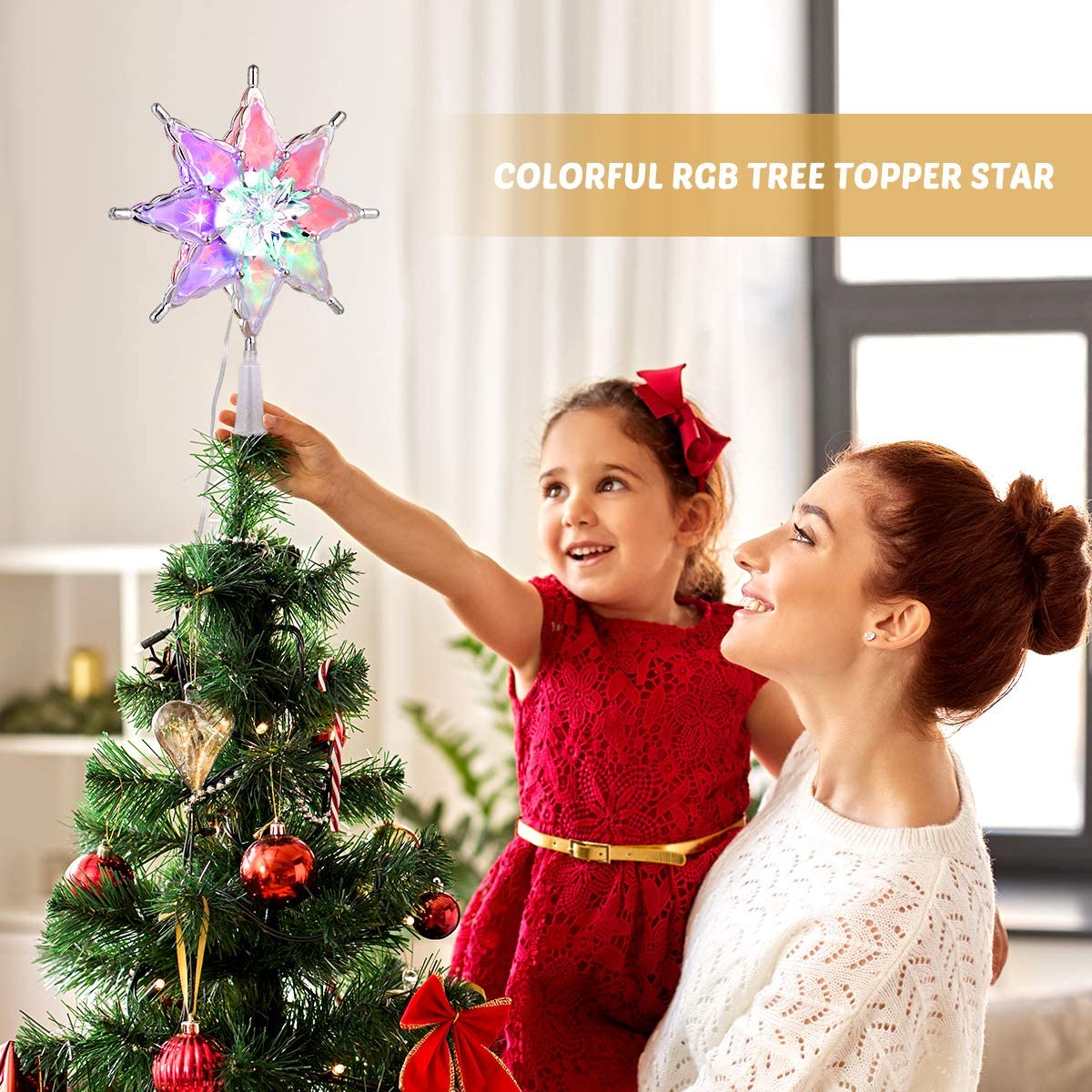 Christmas Star Tree Decoration, 8 Lighting Modes Christmas Tree Ornament for Christmas New Year Decoration (Gold)