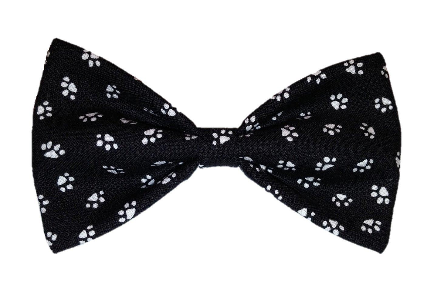 Black Paw Prints- Dog Bow Tie - Cat Bowtie