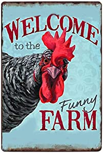 Vintage Tin Poster Welcome to The Funny Farm Country Cottage Chicken Coop Metal Tin Sign 8x12 Inch Retro Art Home Bar Restaurant Garage Cafe Gas Shop Wall Decor Metal Plaque New