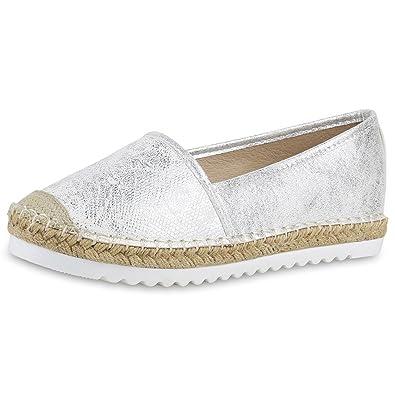 Japado Damen Schuhe Espadrilles Metallic Slipper Bast Profilsohle Flats Schwarz Black 39 fBdroKj