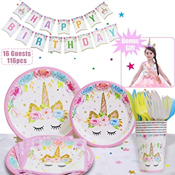 Amazon.com: Unicorn Party Supplies Set con Unicorn Diadema ...