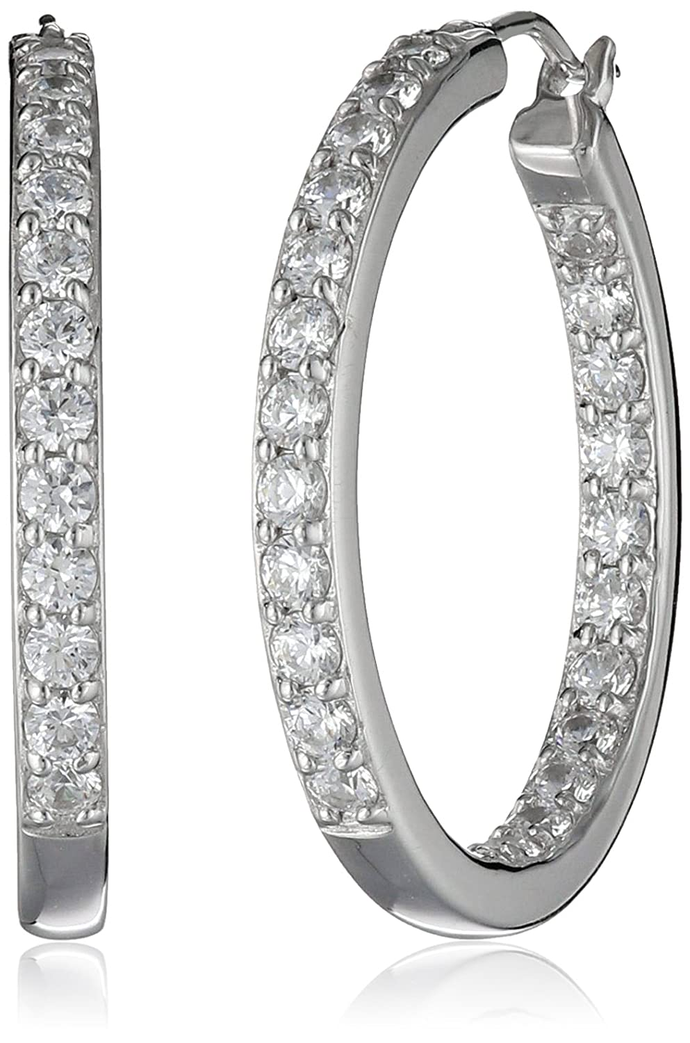 La Lumiere Platinum Plated Sterling Silver and Swarovski Zirconia (3cttw) Inside-Out Hoop Earrings 6pqtJff