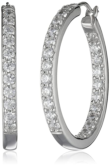 a1756e15e Platinum Plated Sterling Silver Inside-Out Hoop Earrings set with Swarovski  Zirconia (3 cttw): Amazon.ca: Jewelry