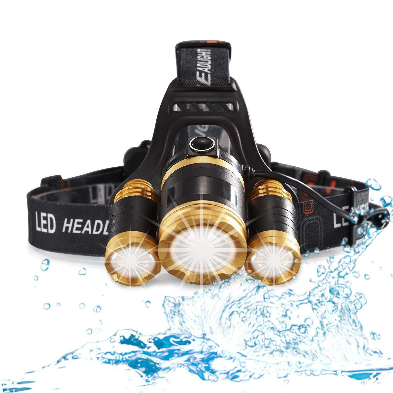 KLSHW LED Headlight Flashlight Camping Running Fishing Headlights Rechargeable Waterproof 6000 Stream Bright Headlights