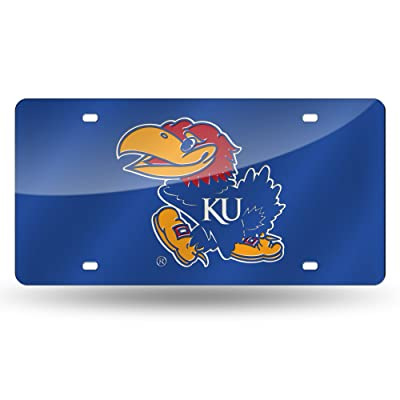 NCAA Rico Industries Laser Inlaid Metal License Plate Tag, Kansas Jayhawks: Sports & Outdoors