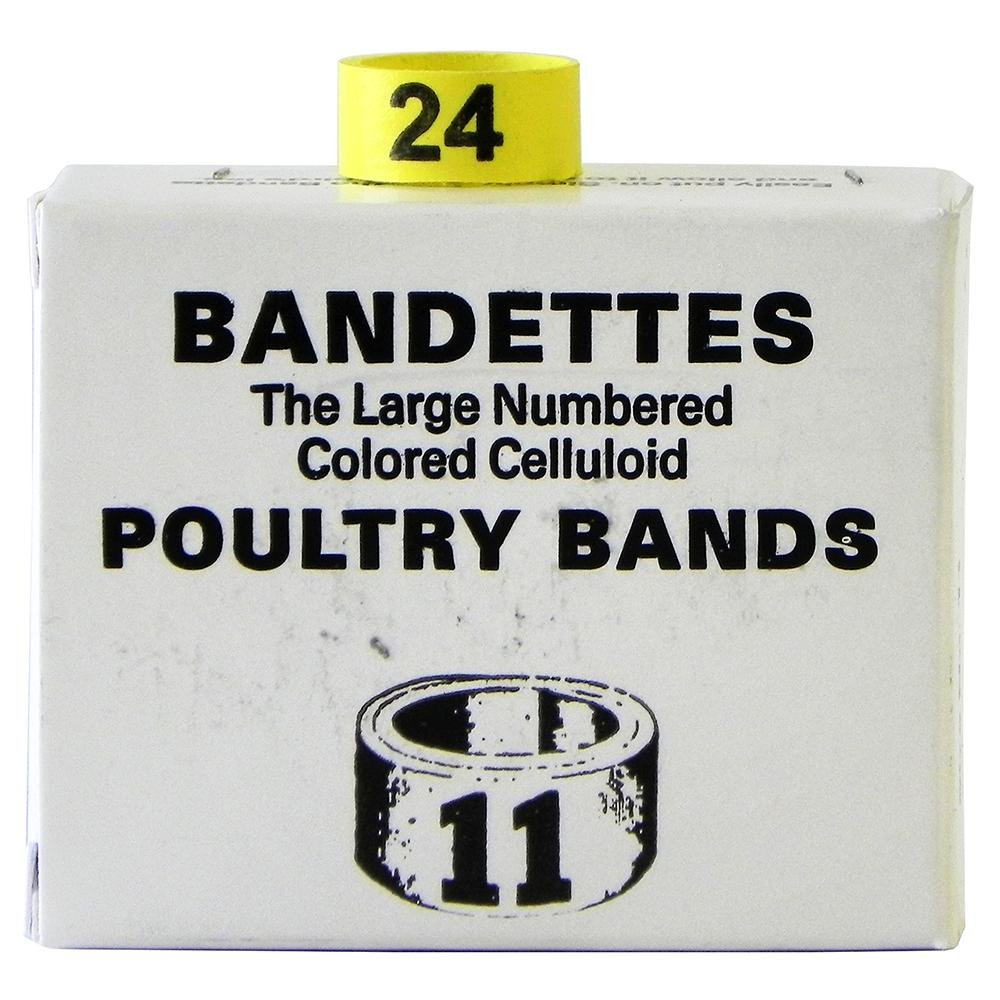 Poultry Numbered Leg Bands Yellow Size 11 Numbered 1-25 by National Band Company