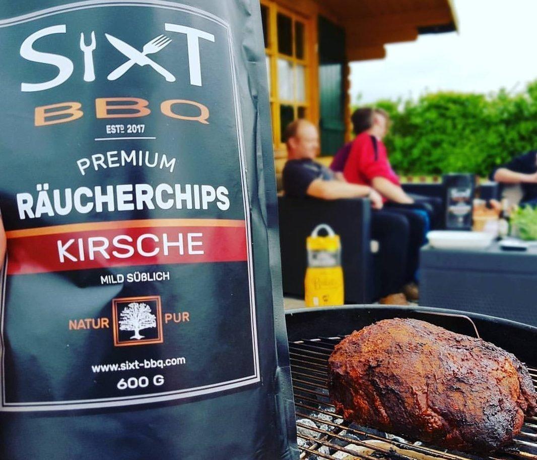 Incienso chips cereza Premium Original de Sixt de BBQ, de virutas de madera para barbacoa & Barbecue, Humo con virutas de madera, natural süßer sabor, ...