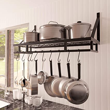 Large Wooden Hanging Pot Rack Store Pots Pans And Cookware ...