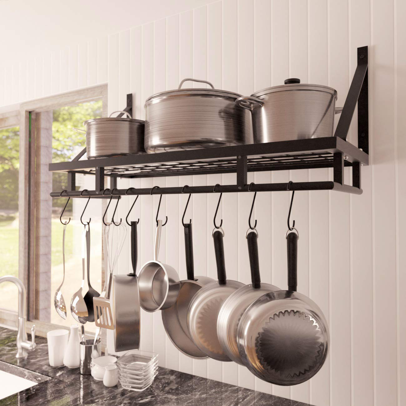 Kes 30-Inch Kitchen Pan Pot Rack Wall Mounted Hanging Storage Organizer Wall Shelf with 12 Hooks Matte Black, KUR215S75A-BK