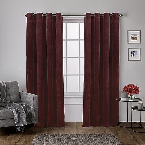 Exclusive Home Curtains Velvet Heavyweight Grommet Top Curtain Panel Pair, 54×108, Burgundy, 2 Piece