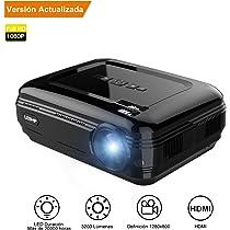 Proyector,【Versión Actualizada】Proyectores Full HD LED 3200 Lúmenes 1080P, Proyector Video Portátil Ayuda Portable / USB / VGA /HDMI / AV / TVpara ...