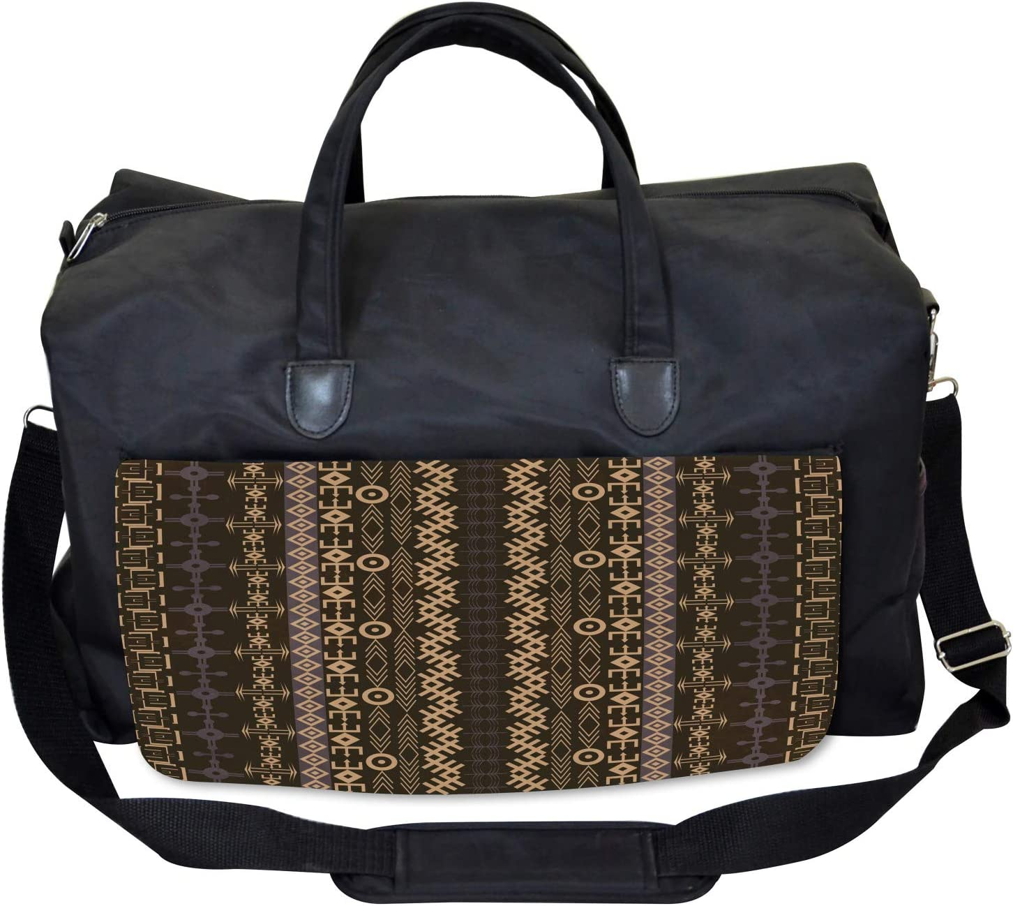 Large Weekender Carry-on Ethnic Shapes Arrows Ambesonne African Gym Bag