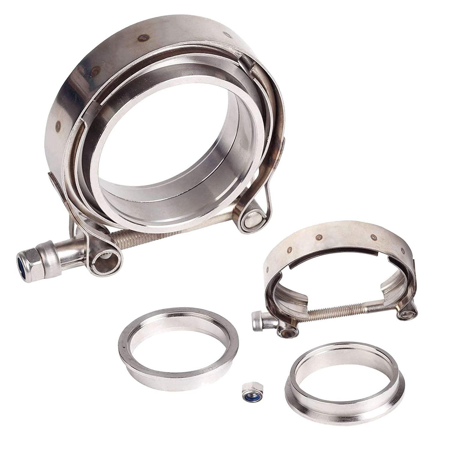 2.5' Inch V Band Clamp with Stainless Steel Flanges for Turbo, Downpipes,Exhaust Systems 2.5in 63mm SS Vband, V-Band Flange Kit blackhorseracing
