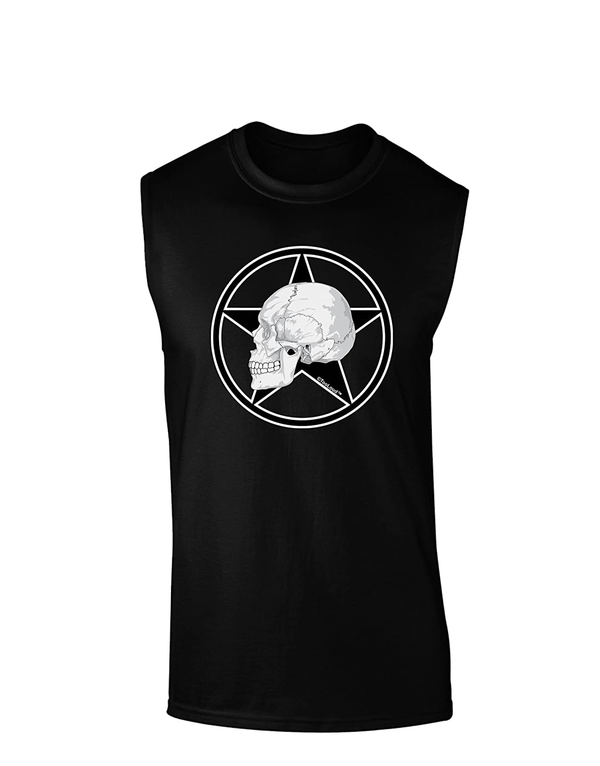 TooLoud White Skull with Star Dark Muscle Shirt