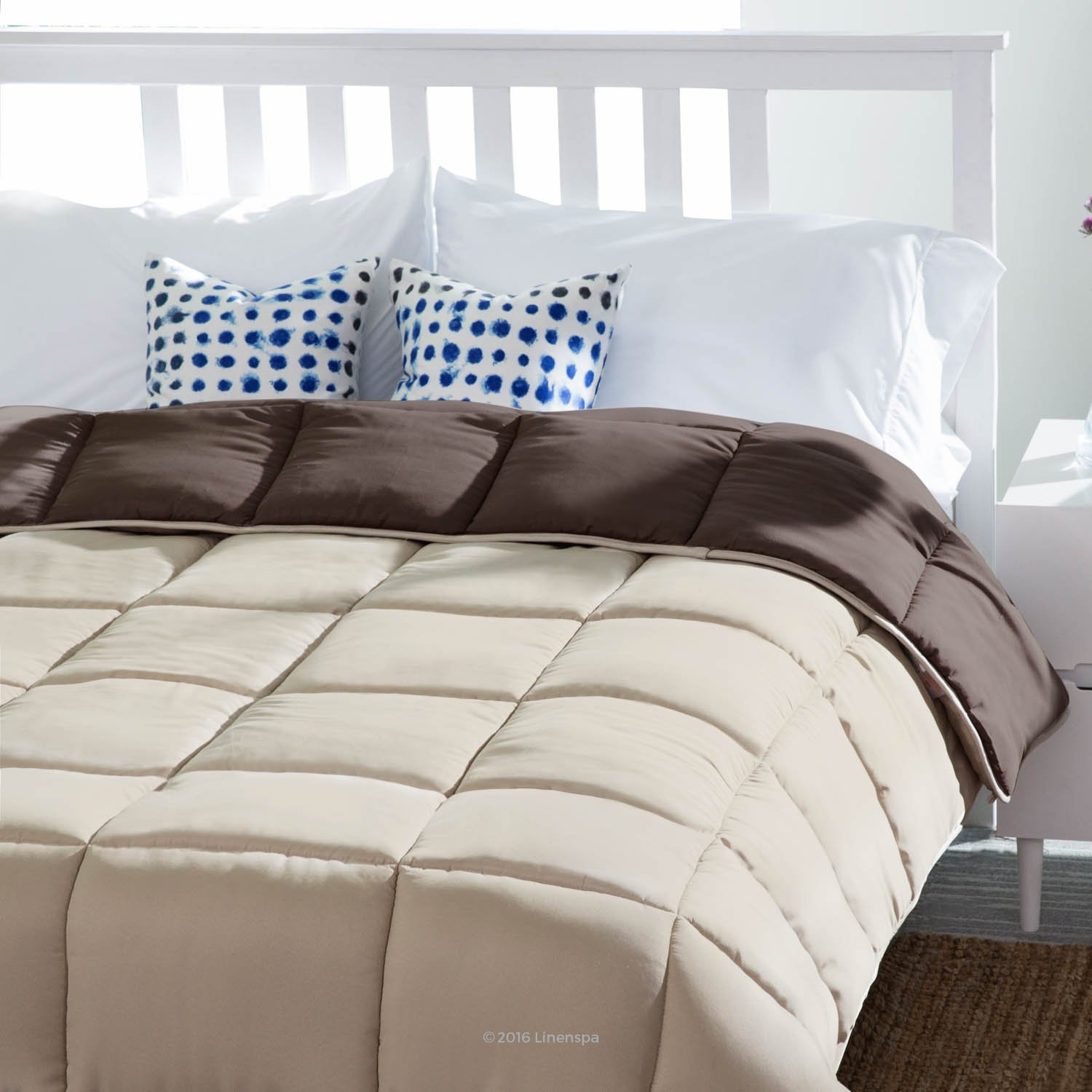 Down Alternative Quilted Comforter with Corner Duvet Tabs - Sand/Mocha - Twin