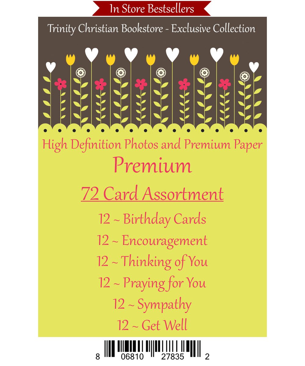 Premium Quality All Occasion 72 ct Christian / Religious Greeting Card Asst. w/ Scripture ~ Free 6pk of Cards to Offset Shipping by Caring Thoughts