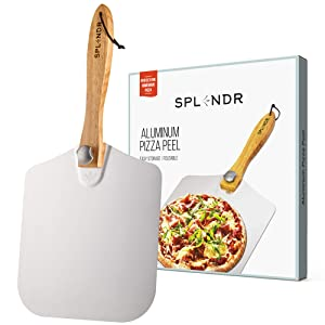Aluminum Metal Pizza Peel with Foldable Wood Handle 12 Inch x 14 Inch Great Gift for Homemade Pizza Lovers. Easy Storage Pizza Paddle for Baking Bread