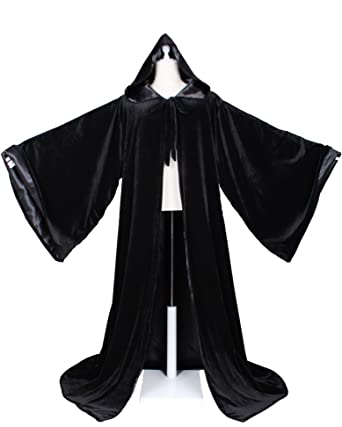 amazon com luckymjmy velvet wizard robe with satin lined hood and