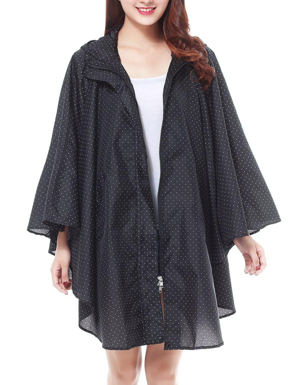 LOHASCASA Rain Coat for Adults Waterproof Packable Rain Poncho Polka Dot Black