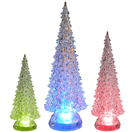 tabletop led christmas trees set of 3 green acrylic christmas trees holiday decoration - Color Changing Led Christmas Tree