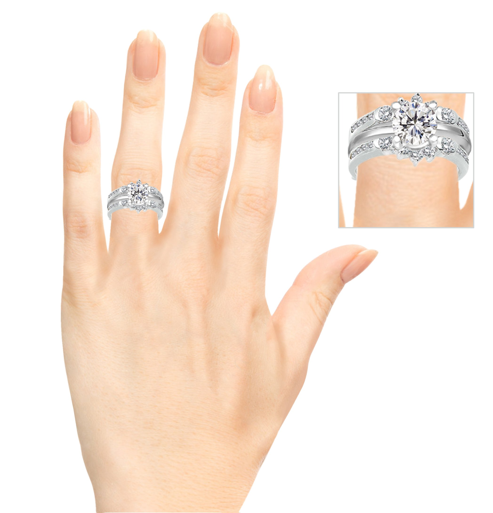 TwoBirch 1 ct. Cubic Zirconia Half Halo Classic Style Ring Guard in Sterling Silver (1 ct. twt.) by TwoBirch (Image #9)
