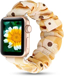 Women Scrunchie Bands Compatible for Apple Watch Band 38mm 40mm 42mm 44mm,Cute Pattern Printed Bracelet Replacement Wristbands for iWatch Series 5 4 3 2 1 (Yellow Daisy, 38/40mm)