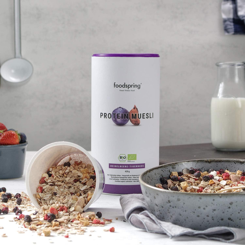 foodspring Muesli Proteico, 420g, Sabor Arándanos Chufas, BIO ...