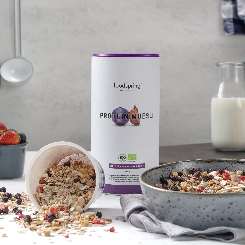 foodspring Muesli Proteico, 420g, Arándanos-Chufas, Muesli proteico con finos copos de soja, 100% calidad orgánica