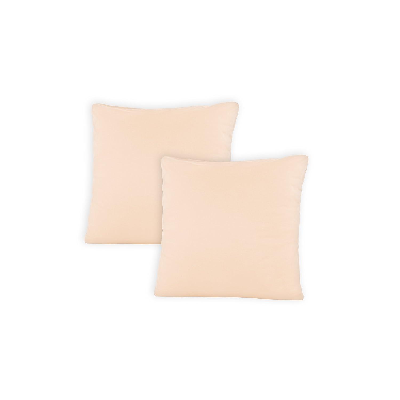 SHC Doble Pack Fundas de Almohada, Jersey Almohada, Funda de cojín, Almohada con Cremallera de algodón 100%, 100% algodón, Linen/Beige, 50 x 50 cm