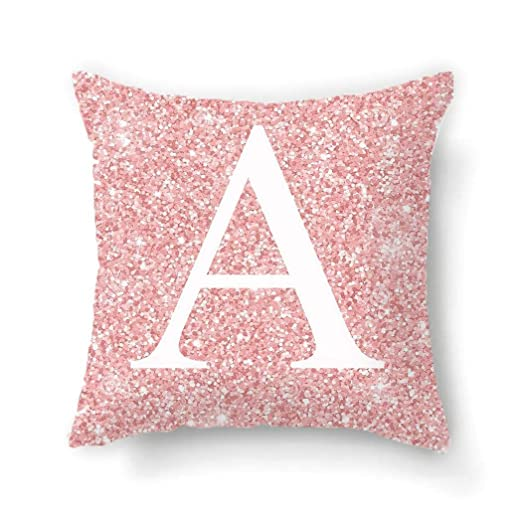 Carsge Funda de Almohada con Estampado de Letras Rosadas para el hogar Funda de cojín con Alfabeto Fundas Decorativas para Almohada