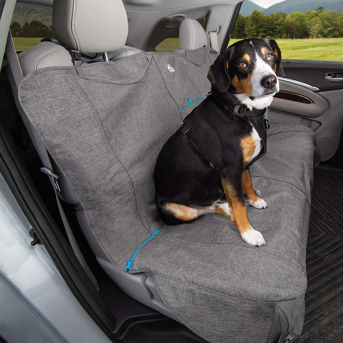 Heather Charcoal Grey 55\ Heather Charcoal Grey 55\ Kurgo Non Slip Grip Bench Seat Cover, Pet Back Seat Cover, Waterproof Non Slip Car Seat Cover and Predector