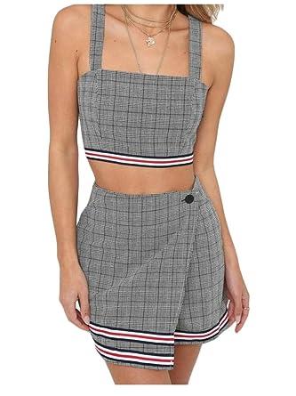 faa6e38cd EKU Women 2 Piece Outfits Sleeveless Plaid Crop Top + Mini Skirt Sexy Set  Black M: Amazon.co.uk: Clothing