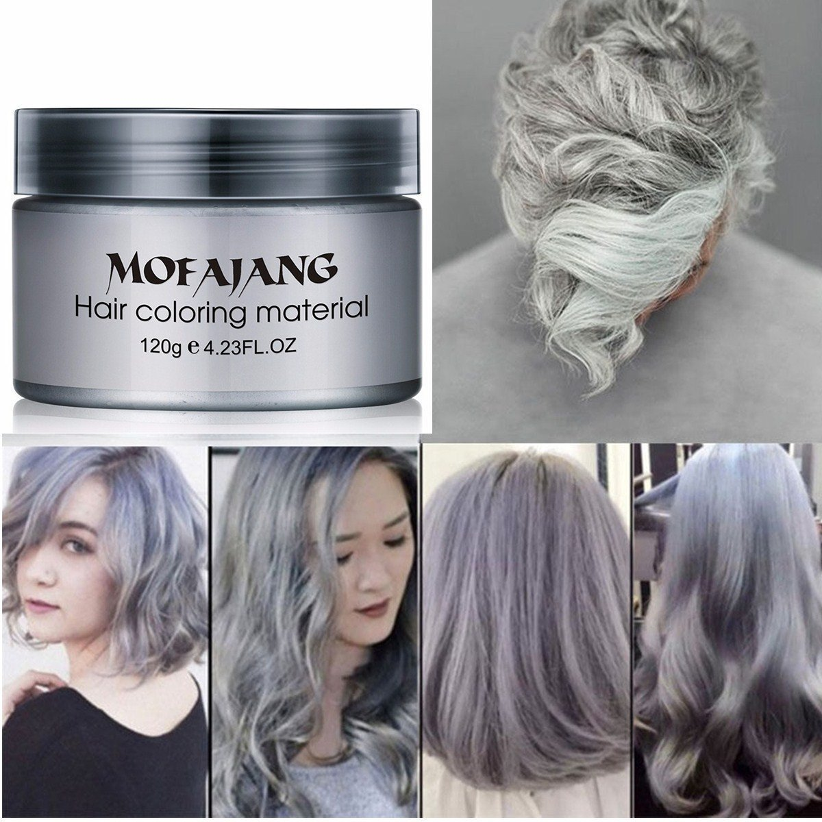 Mofajang Hair Wax Dye Styling Cream Mud, Natural Hairstyle Color Pomade, Washable Temporary, Gray by MOFAJANG (Image #2)