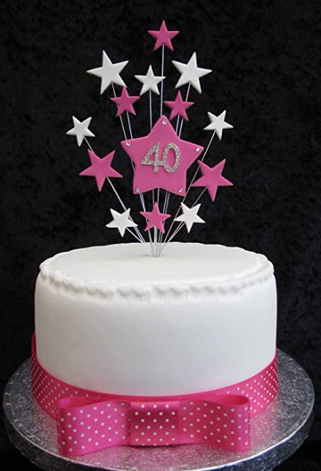 40th Birthday Cake Topper Hot Pink And White Stars Suitable For A
