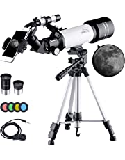 BEBANG Telescopes for Astronomy, Portable 70Mm Refractor Telescope for Beginners and Kids with Adjustable Tripod, 2 Eyepieces, 4 Moon Filter, Smartphone Adapter and Backpack-White