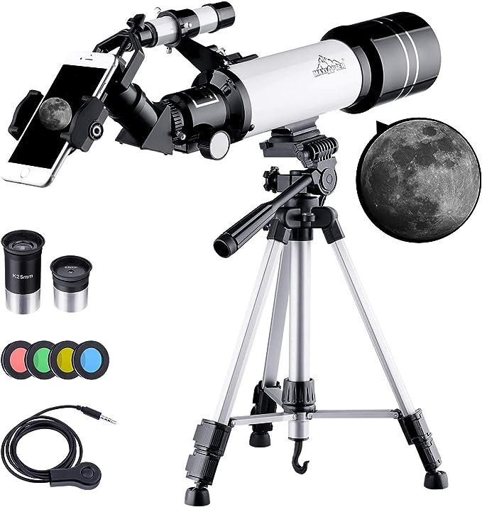 BEBANG Telescopio Astronómico, HD Telescopio de refracción de 70 mm con Adaptador de Teléfono, Filtro de Luna, 2 oculares, Ajustable Mochila y Trípode: Amazon.es: Electrónica