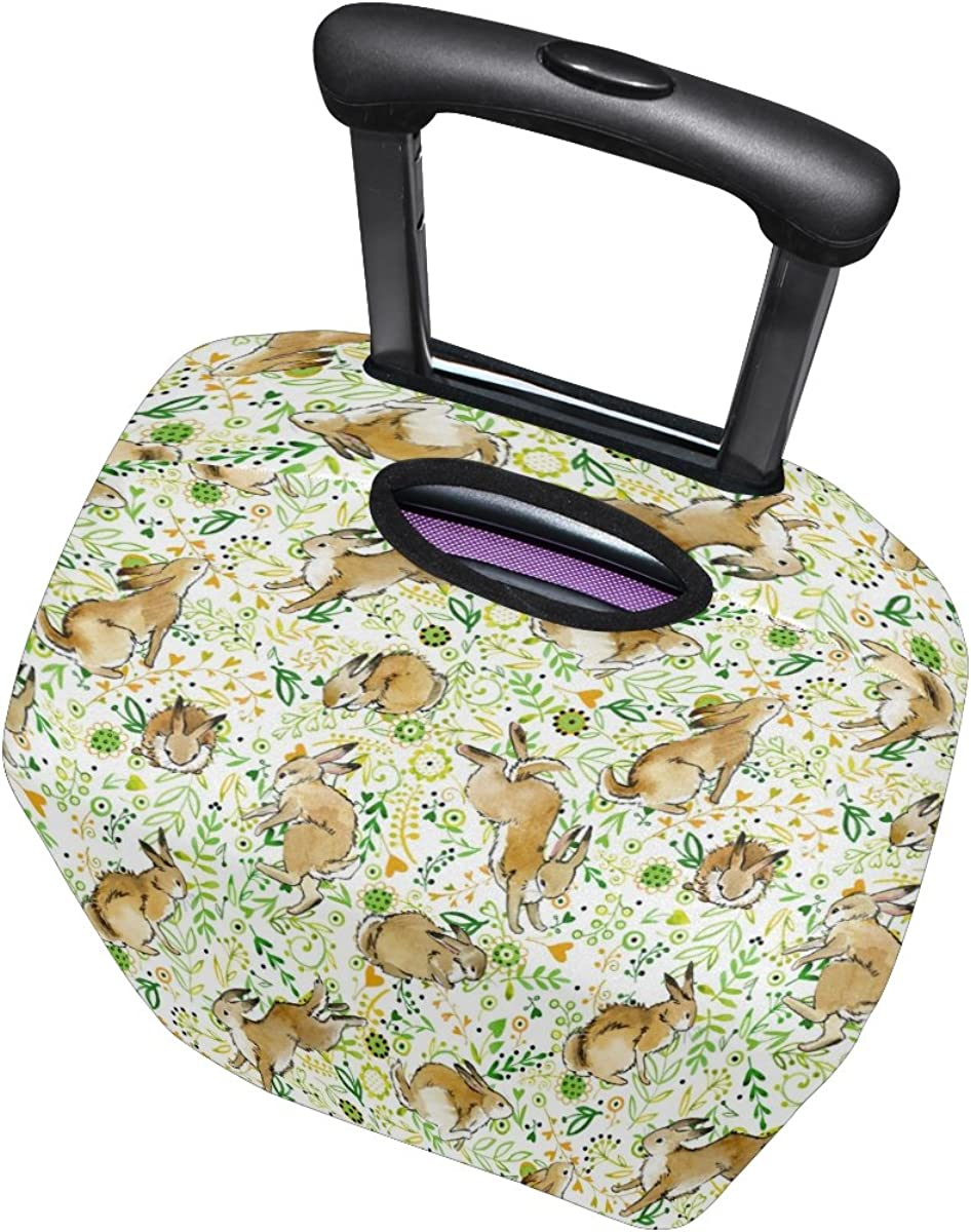ALAZA Painting Bunny Rabbit Flower Travel Luggage Cover Suitcase Cover Case