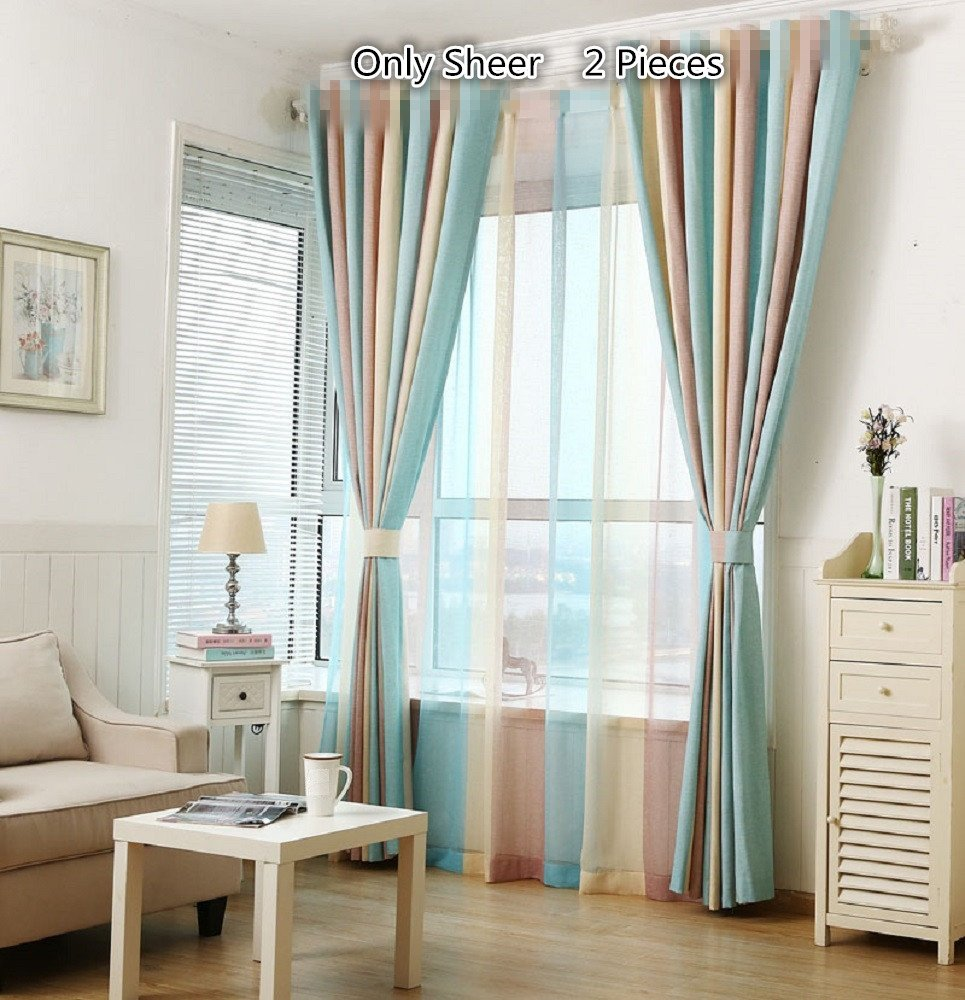 Tiyana Rainbow Stripe Window Curtain Drapes Microfiber Textured Thermal Insulated Curtains Screen Window Treatments for Kids Room Bedroom Living Room Solid Ring Top, 2 Panels,W52 x L63 inch